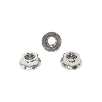 304 Stainless Steel Hex Serrated Flange Lock Nuts (UNC) Coarse Thread